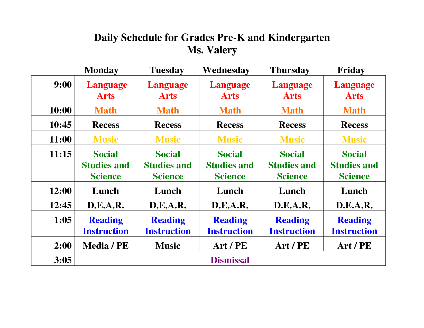 KindergartenDailyScheduleTemplate  Daily Schedule For Grades