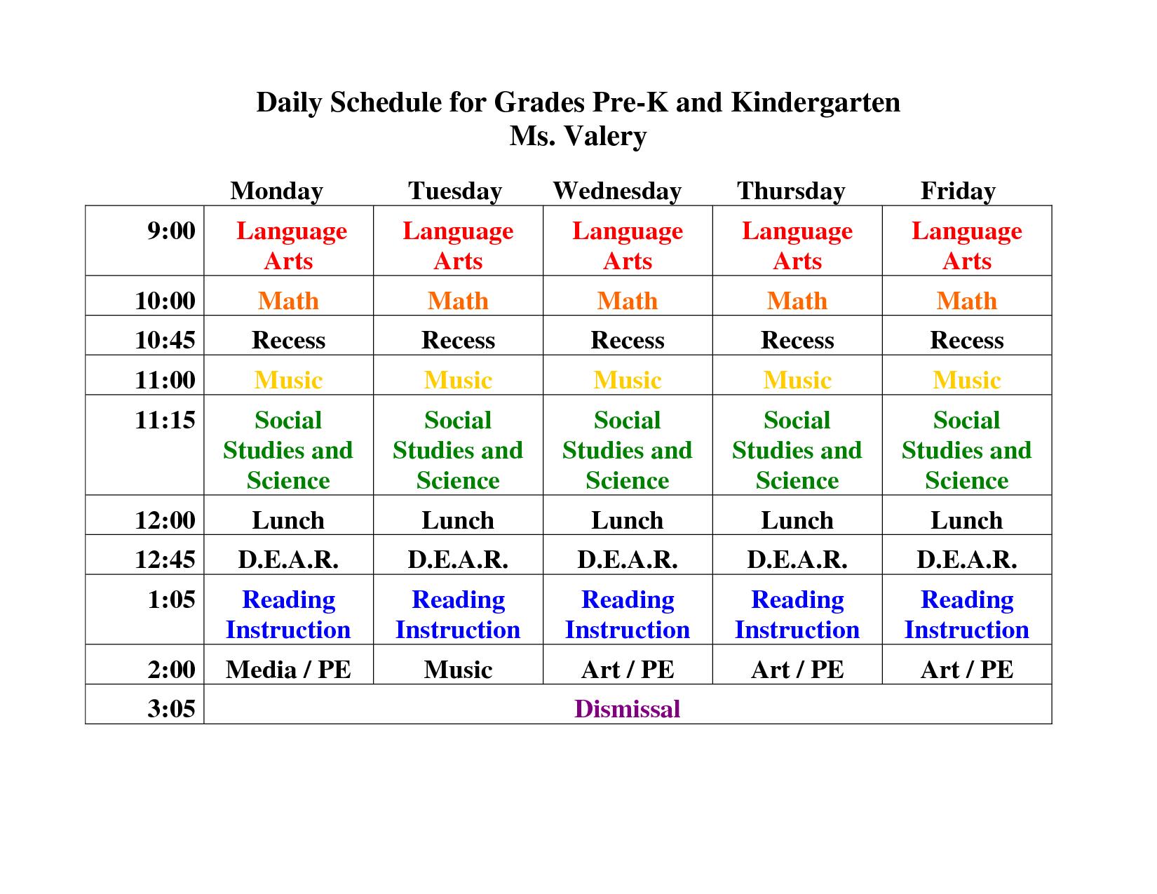 Kindergarten Daily Schedule Template