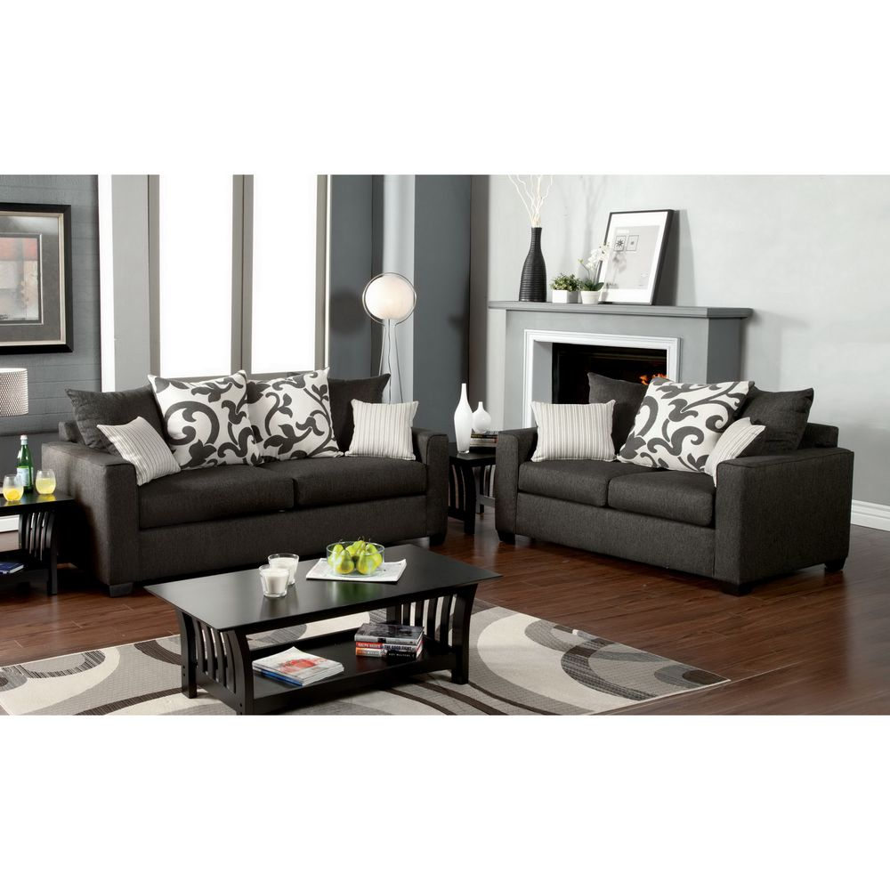 Best Aizo Modern Gray Fabric 2 Piece Sofa Set Overstock Com 400 x 300