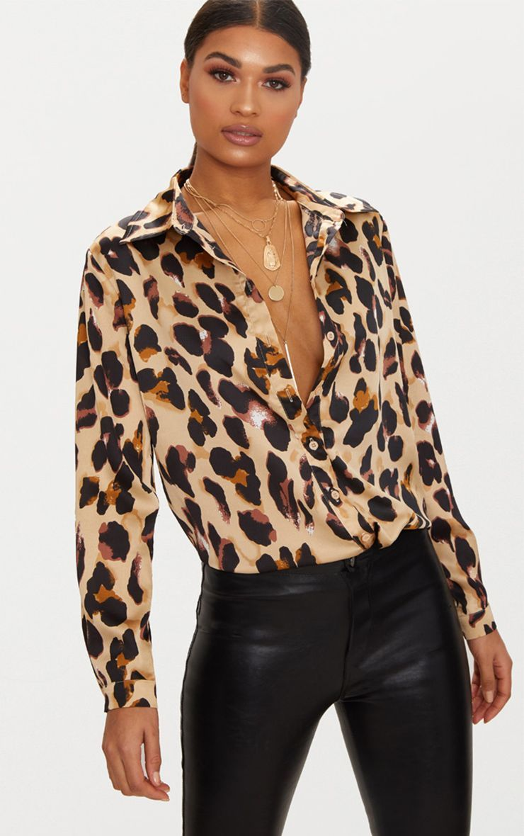 78231bb487a0 Tan Leopard Print Satin Oversized Shirt in 2019 | dream clothes ...