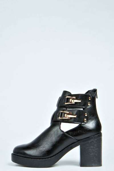 5a57be9fb4 Jenny Clip Buckle Block Heel Ankle Boot at boohoo.com | Chunky ...