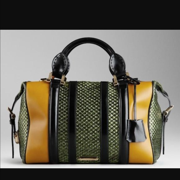 Limited Edition Burberry Prorsum Bowling Bag Only Carried For One Season Olive Weaving With Black And Saddle Leather Very Structured