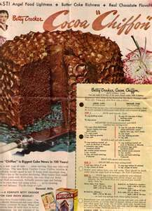 1949 Betty Crocker Cocoa Chiffon Cake Vintage Recipe