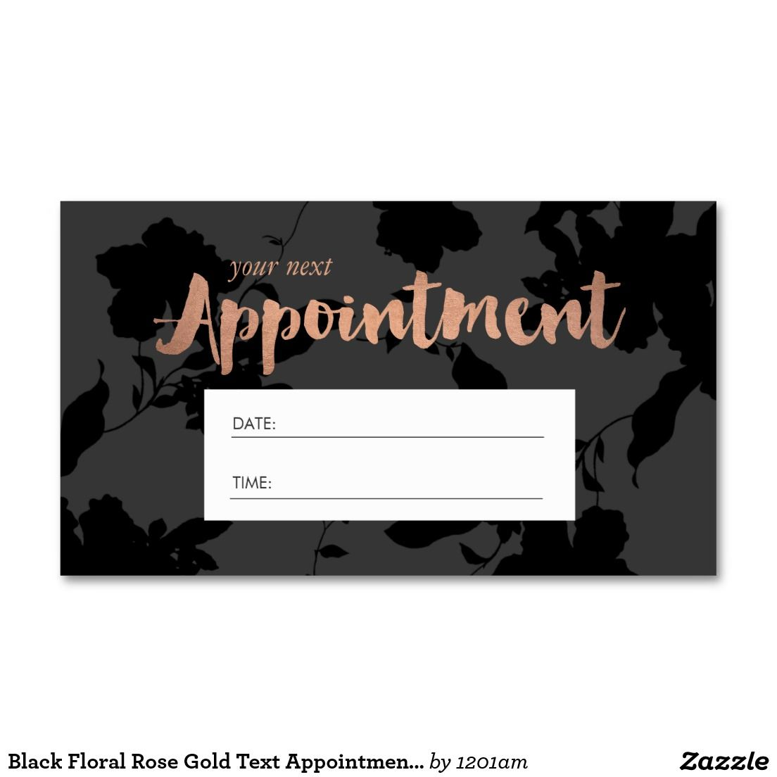 Black Floral Rose Gold Text Appointment Cards for Hair Salons ...