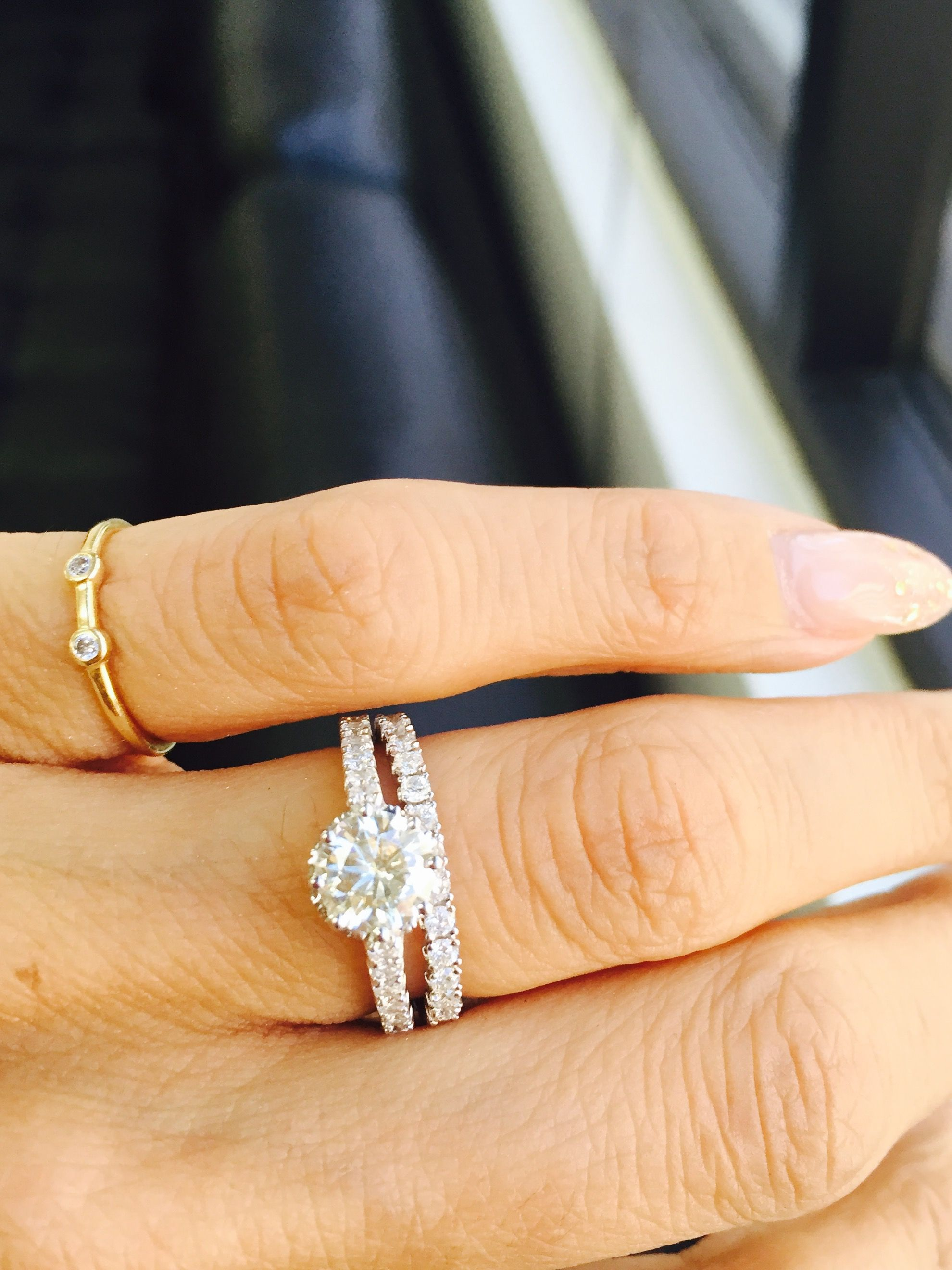 Happy Wife happy life ... #Kobelli custom order #bridalset #diamondrings #diamonds #halo