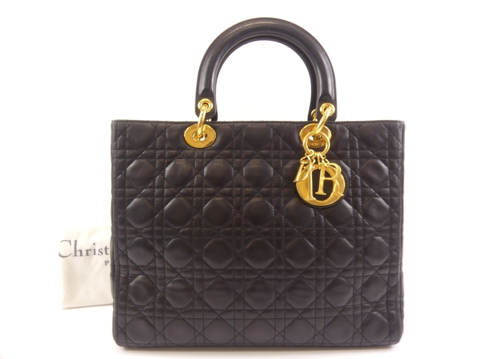 7fba8331d4 Authentic Christian Dior Cannage Lady Dior 2Way Hand Bag Lambskin Black  63146 | eBay