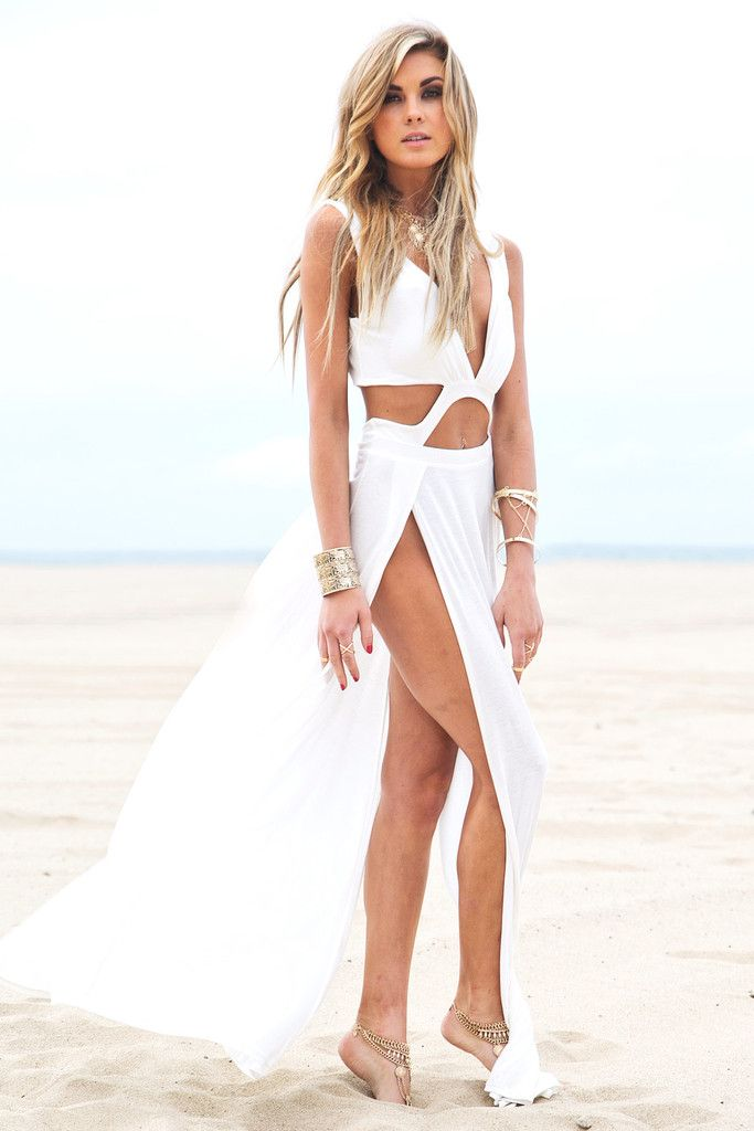 White with High Slit Dress