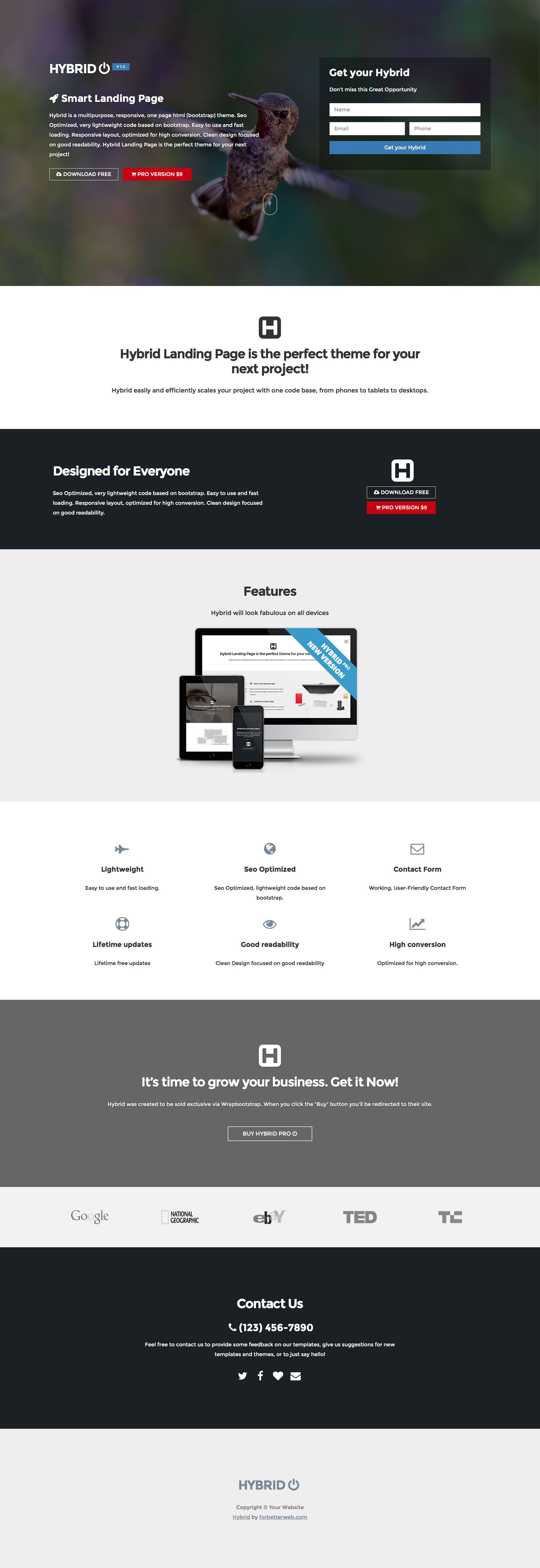 Hybrid is a free, responsive, landing page HTML5 template, designed ...
