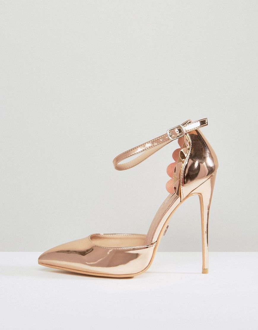 2b1f3142a4 Lost Ink Wide Fit Scalloped Rose Gold Metallic Heeled Shoes - Gold ...