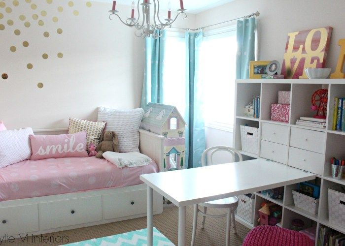 Beautiful Before And After Of Little Girls Bedroom In Benjamin Moore Pink  Bliss With Chandelier, Ikea Hemnes Bed, Raskog Cart And Kallax Bookshelf.