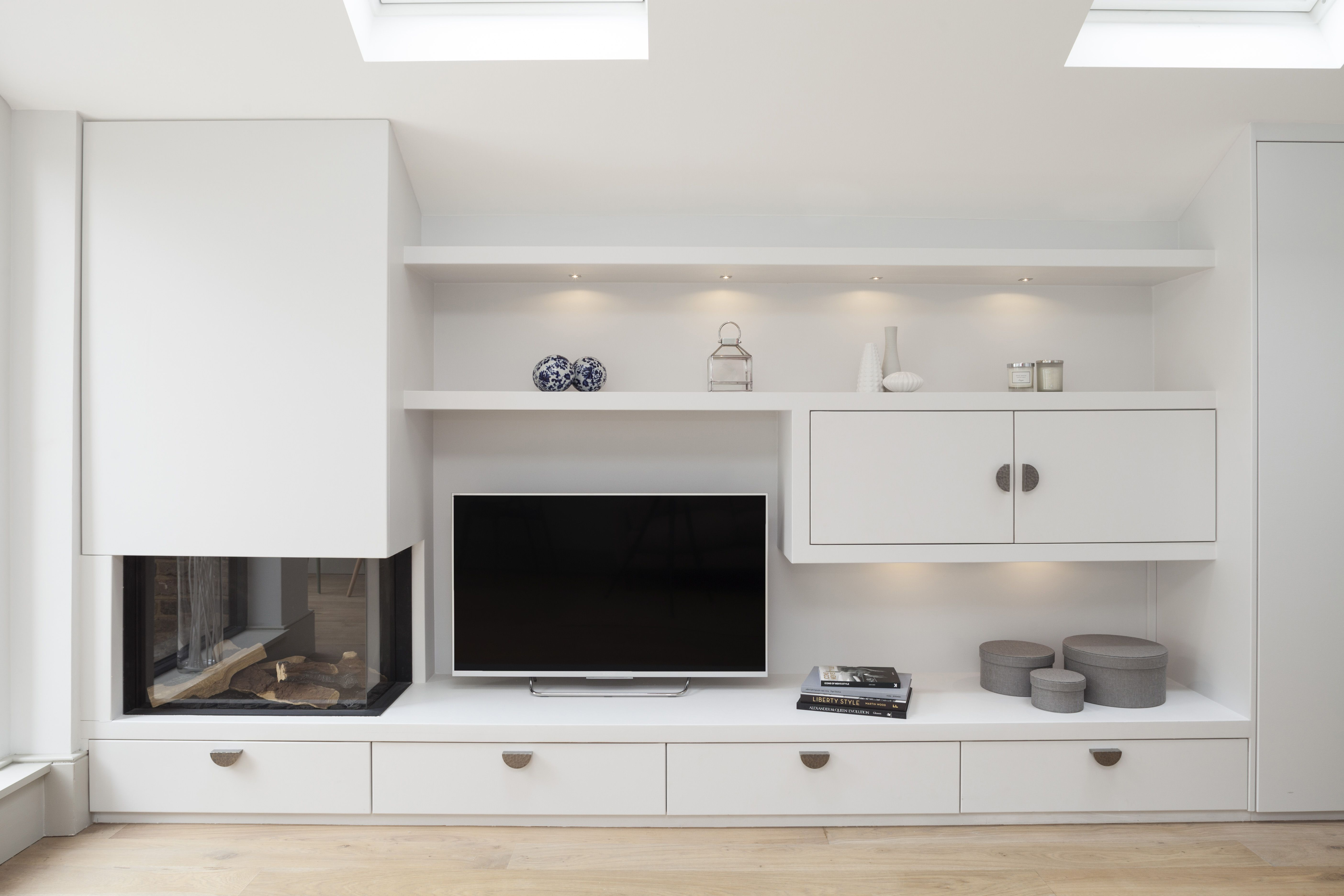 Built in gas fire, TV and display shelving with LED lighting and ...