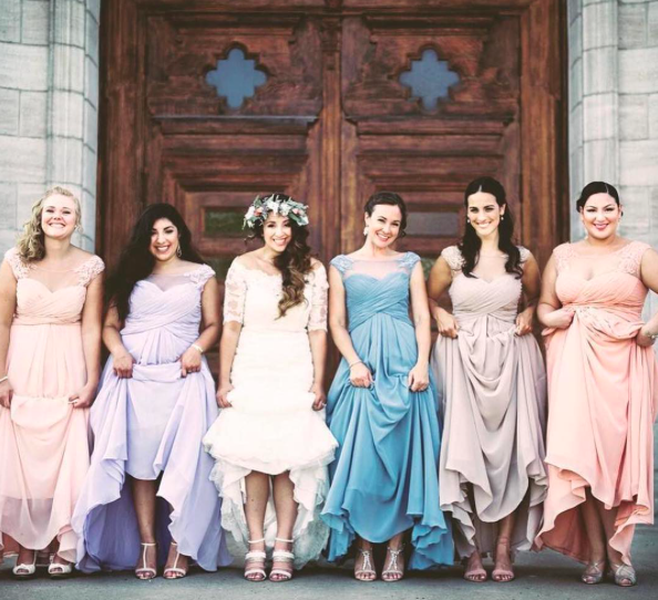 cc38d5057d5 Loving the Mismatched trend in pastel bridesmaid dresses by Morilee