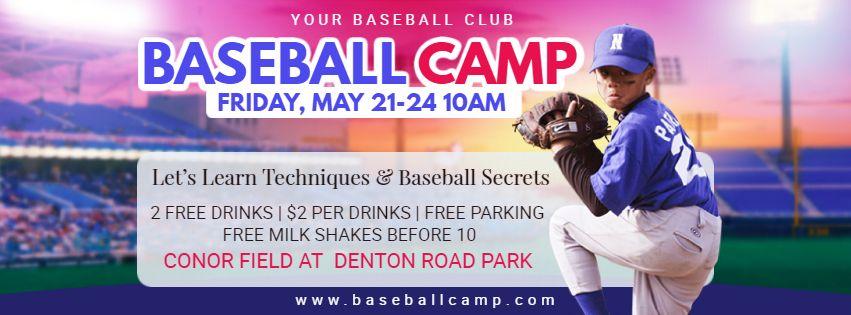 School Baseball Camp Banner Design Baseball Posters Baseball Camp Baseball