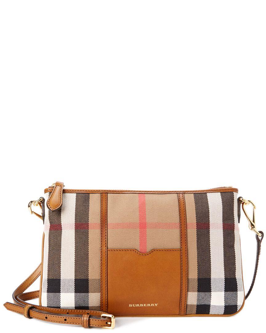 Rue La La — Burberry House Check   Leather Clutch Bag  210f0301998ce
