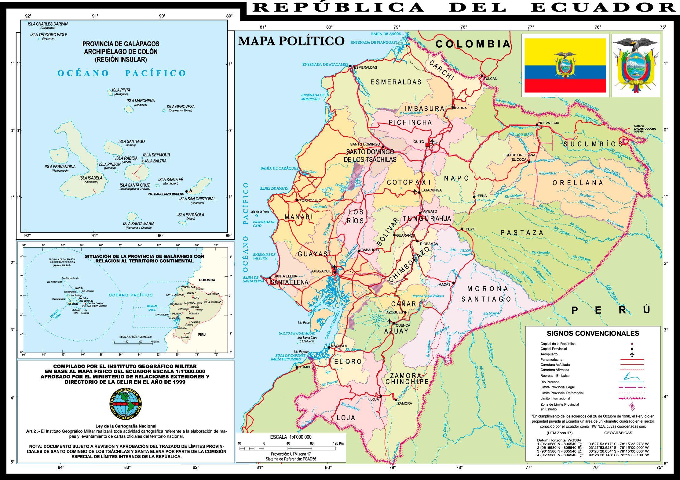 Mapa Del Ecuador Físico Político Turístico Provincias Y Capitales Ecuador Mapa Mapa Politico Ecuador