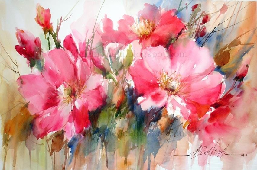 Fabio Cembranelli Paintings Wild Flowers Watercolor 2013