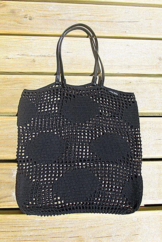 SAC Polka Dots BLACK / / Crochet sac cabas cuir poignées sac à la ...