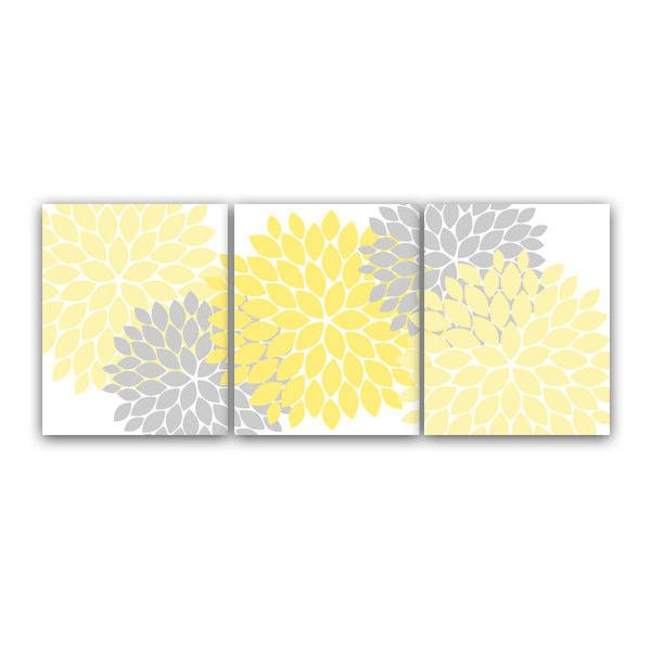 Home Decor Wall Art, Yellow and Gray Flower Burst Art, Bathroom Wall ...