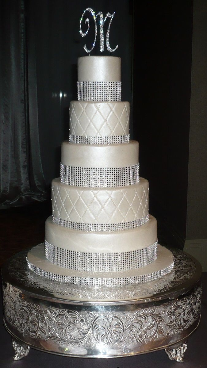 bling wedding cakes | weddings_5-tier-bling-and-pearl-wedding-cake ...
