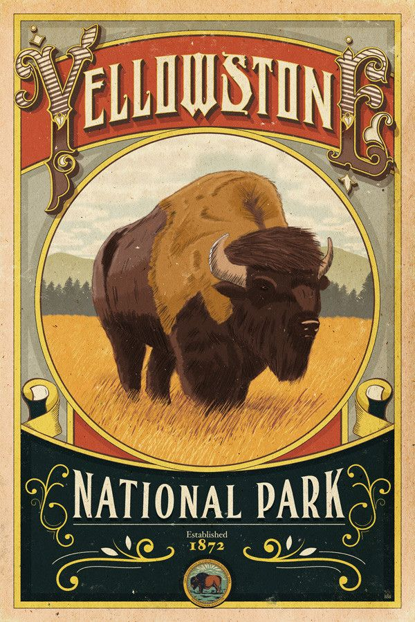 Vintage National Park Posters Part - 44: Yellowstone National Park Poster