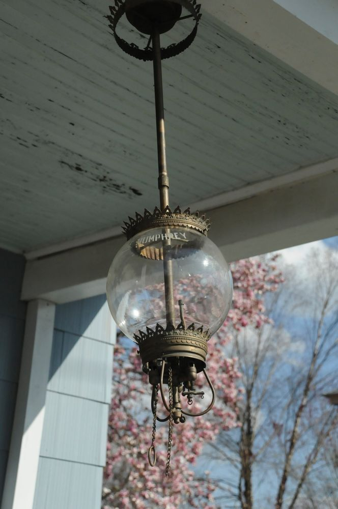 Rare 1901 Antique The Humphrey Hanging Store Shop Gas Lantern Lamp