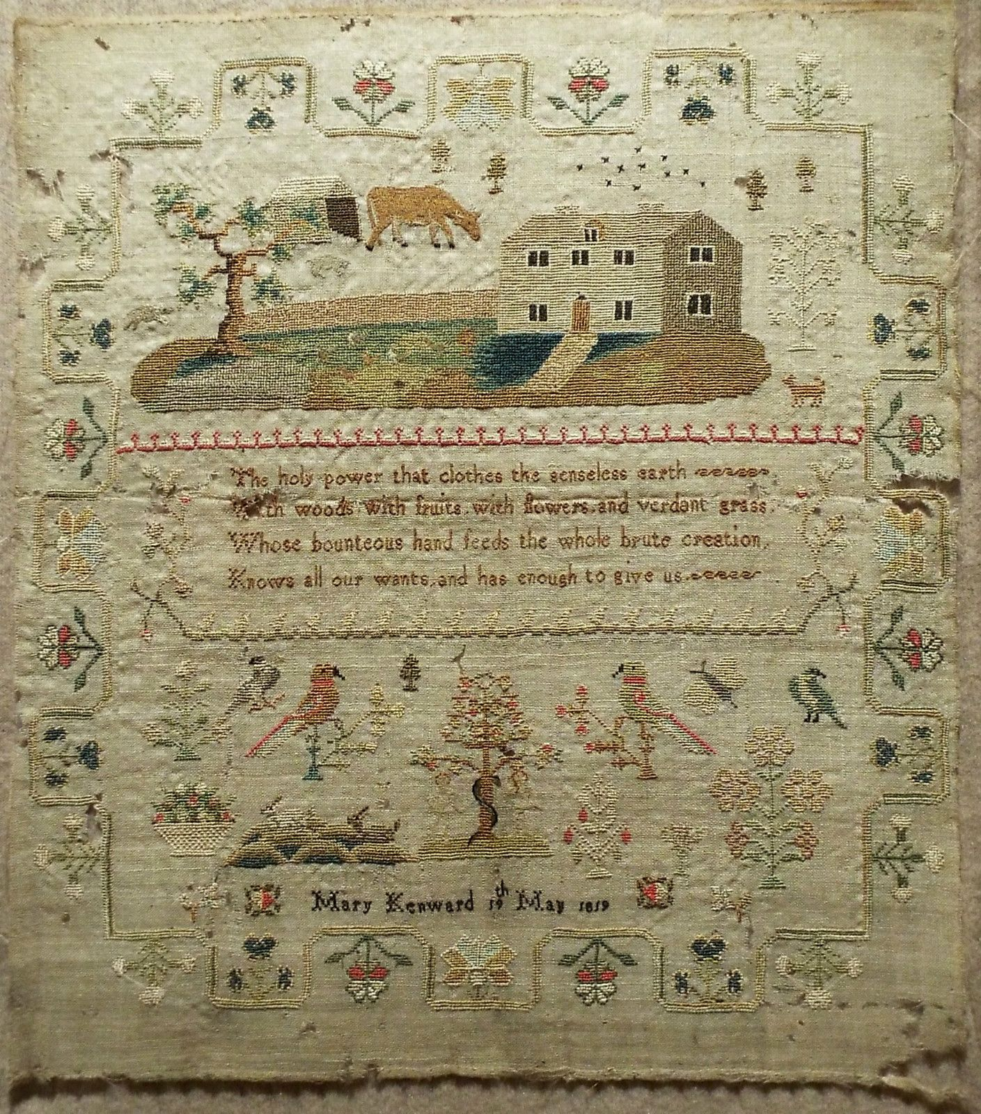 Early 19th Century Linen Silk Adam Eve Sampler by Mary Kenward 1819   eBay