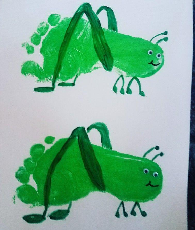 Foot Print Grasshopper Spring Paint Craft For Kids