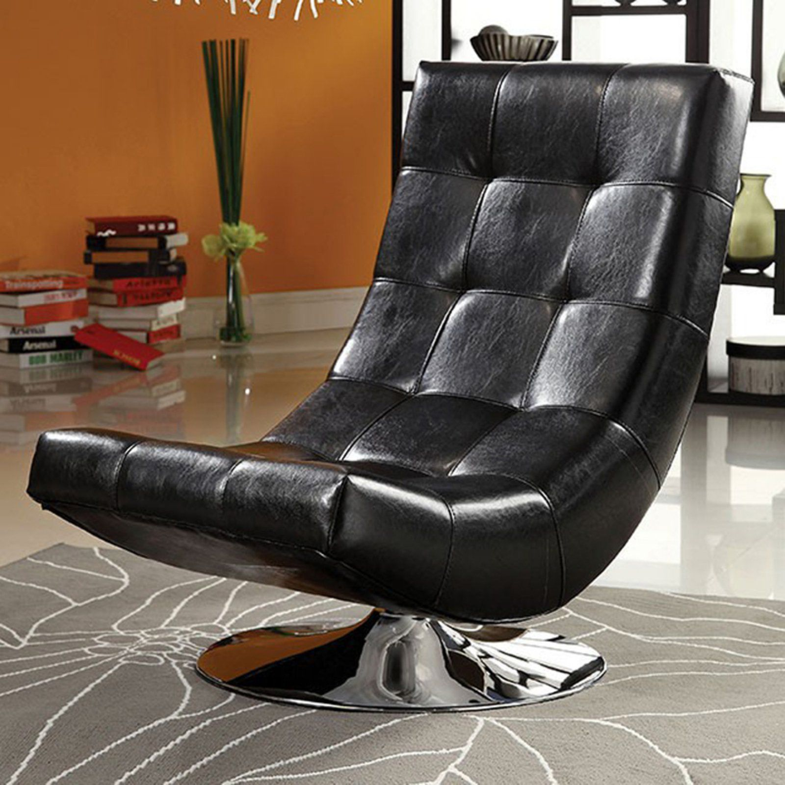 Amazing Benzara Trinidad Contemporary Swivel Accent Chair Black Caraccident5 Cool Chair Designs And Ideas Caraccident5Info