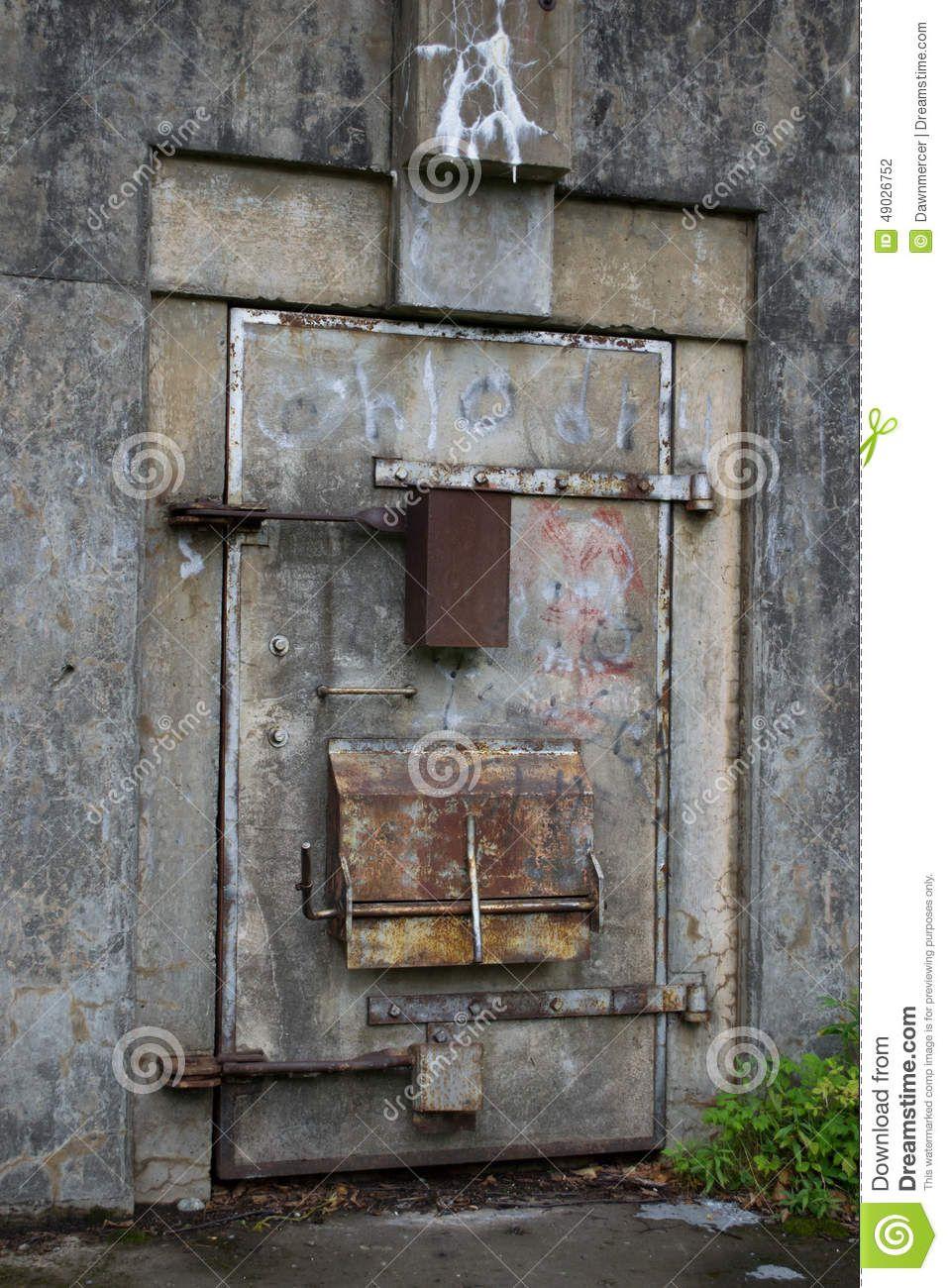 Old War Bunker Door With Graffiti Old War Bunker In