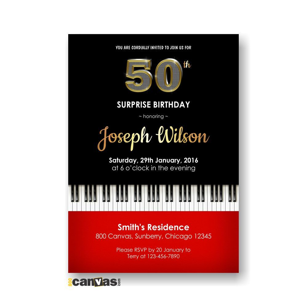 Piano Birthday Invite 30th 40th 50th 60th 70th 80th Musical Invitation For Men Women Any Age Elegant Adult Invites 214 By 800Canvas On