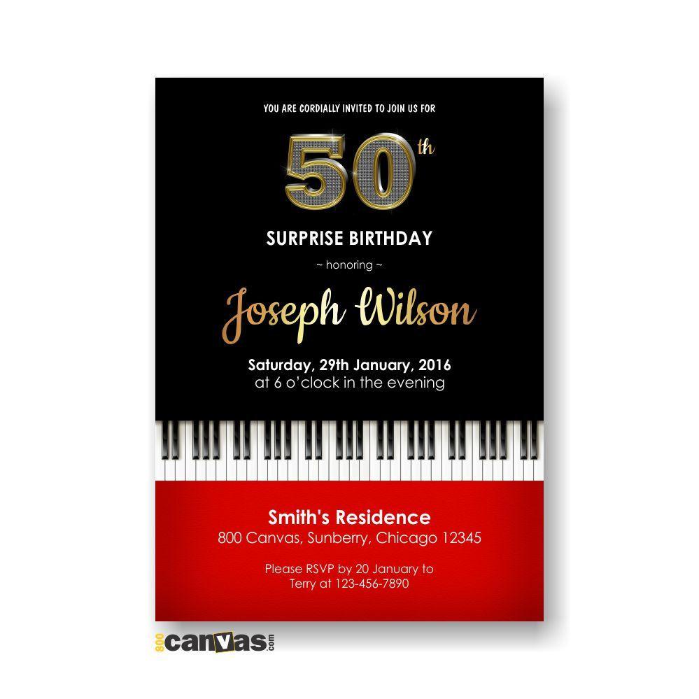 Piano Birthday Invite, 30th 40th 50th 60th 70th 80th