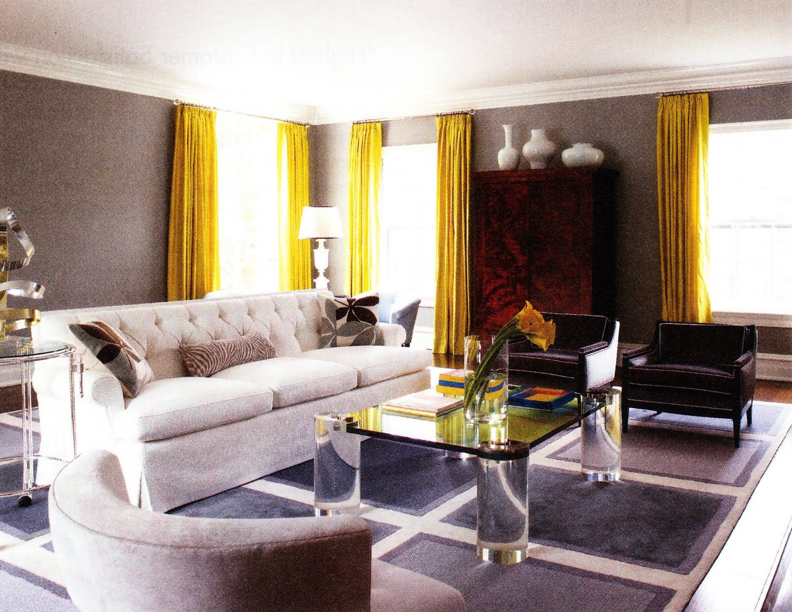 Best Dramatic Floor To Ceiling Mustard Drapes On A Gray Wall 640 x 480