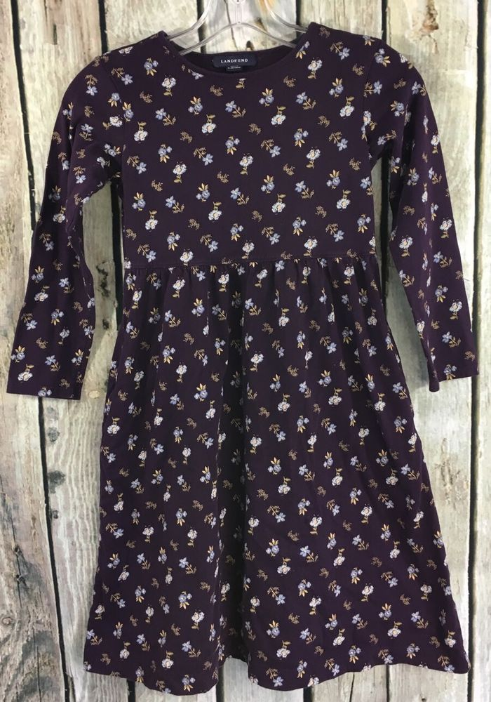 Lands' End SZ 7 Dress Purple Floral Long Sleeve 100% Cotton Knit #LandsEnd #Everyday