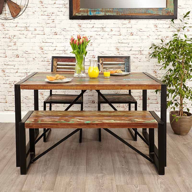 Urban Chic Reclaimed Wood Small Dining Bench Reclaimed Dining