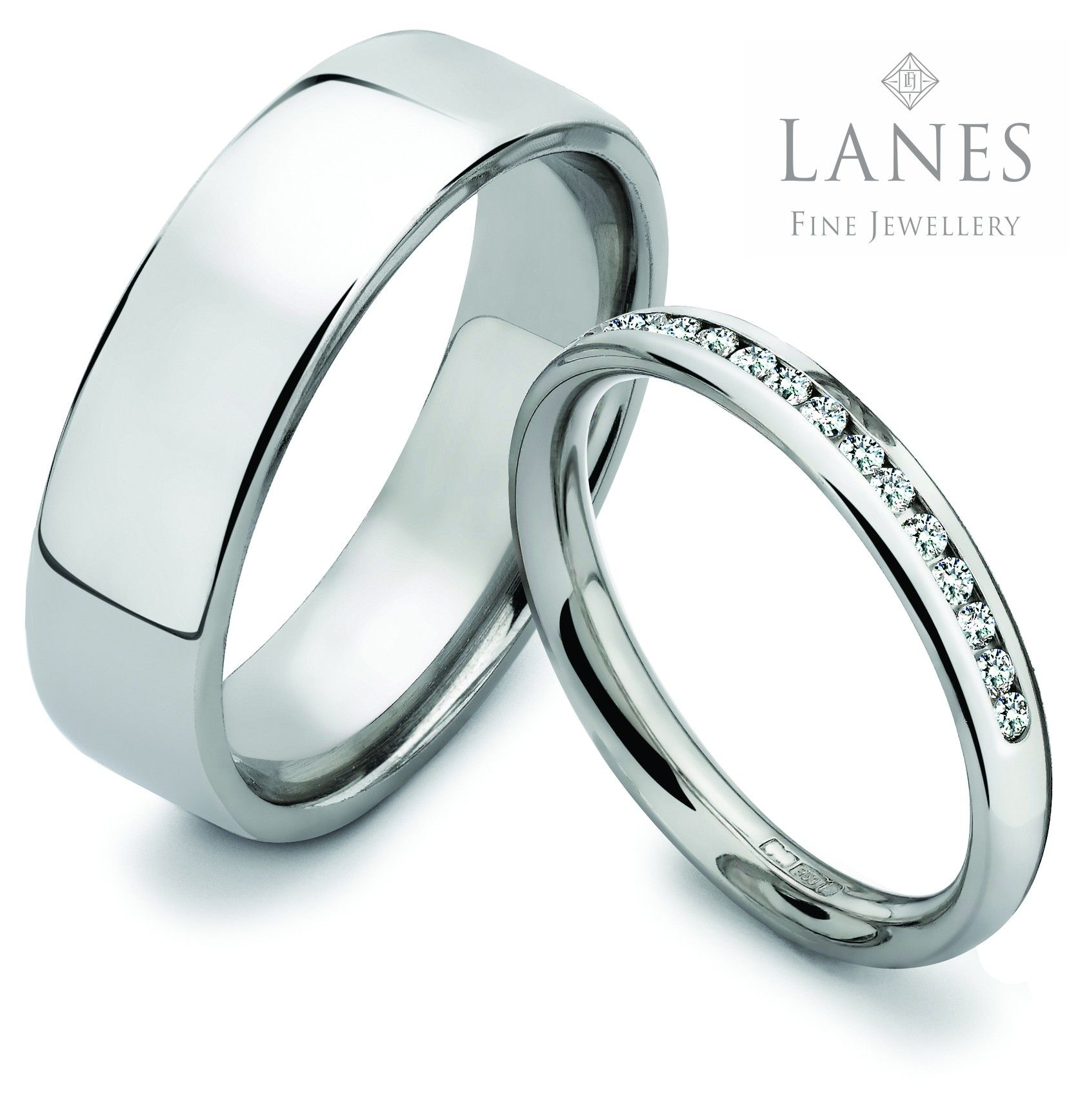 Platinum wedding rings Simple elegant design Diamond set for