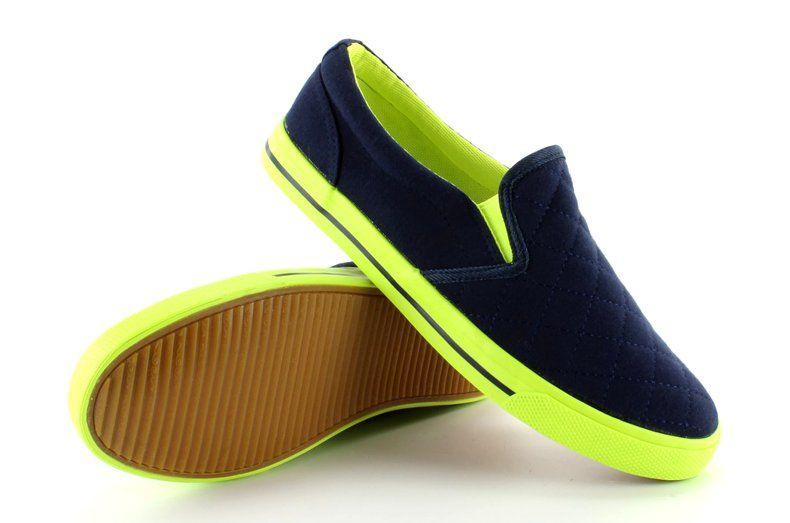 Tenisowki Damskie Obuwiedamskie Granatowe Bawelniane Slip On Pikowane H537 Granat Obuwie Vans Classic Slip On Sneaker Sneakers Vans Classic Slip On