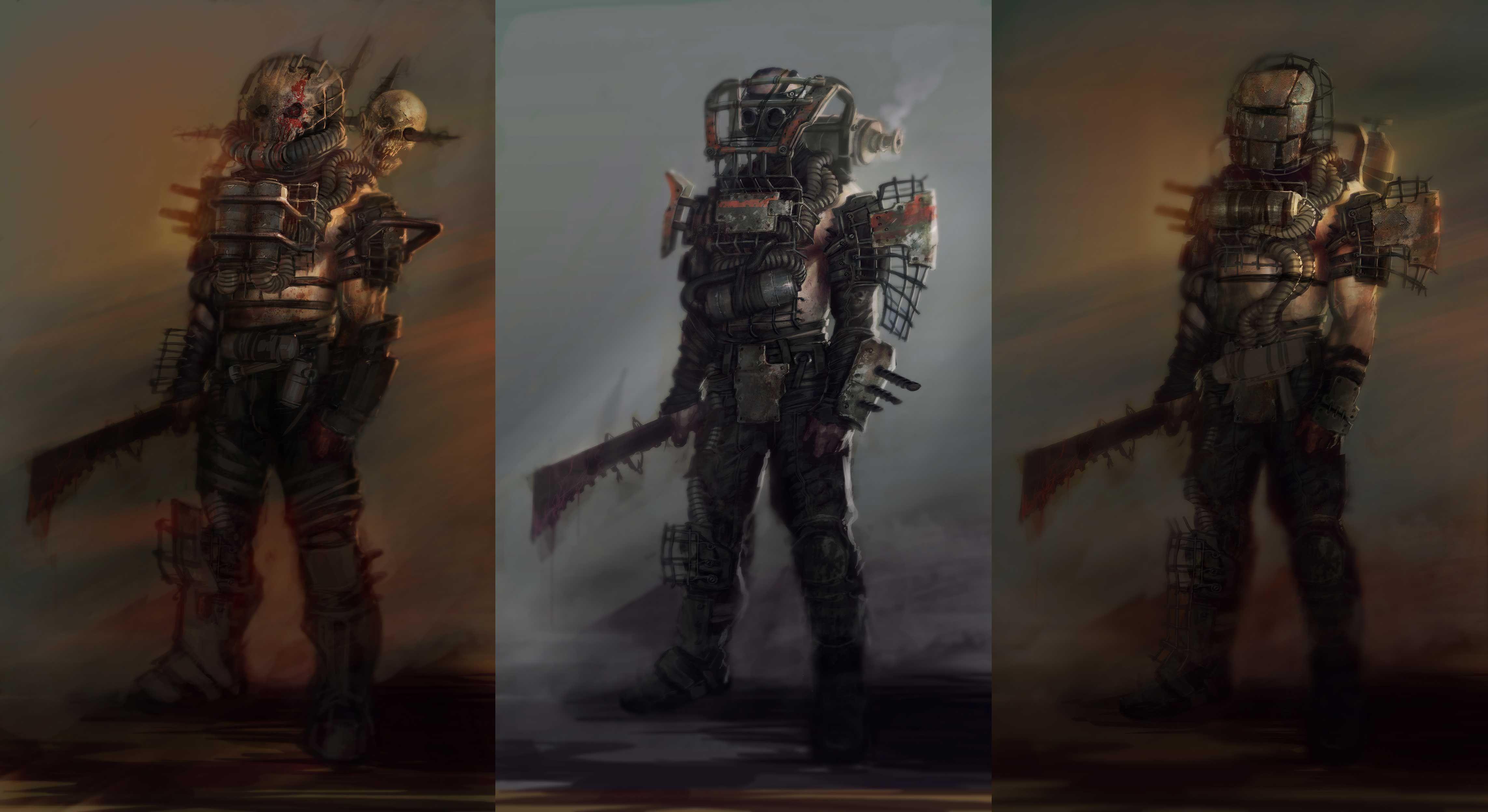 fallout 4 concept art repurposed raider power armor variations