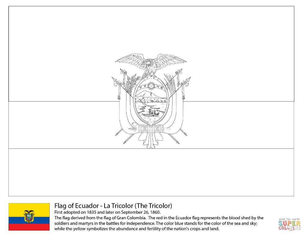 Ecuador Flag Coloring Page Free Printable Coloring Pages Ecuador Flag Flag Coloring Pages Coloring Pages