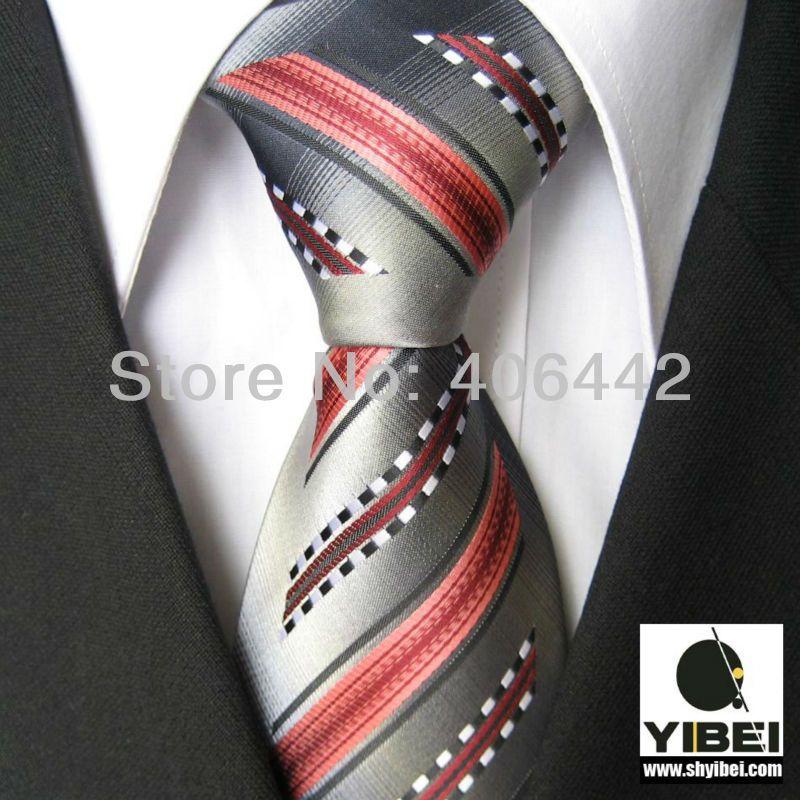 yibei coachella mens ties bordered grey with coral black white stripes necktie fashion ties for men