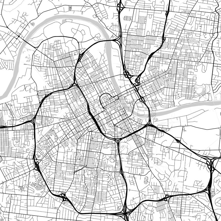 Nashville, Tennessee, USA, light map. Many details and fine ...
