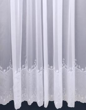 Phillipa Voile: Beautiful embroidered voile with an envelope scalloped base    Delivery within 10 working days     Made to measure up to 229cm     Call us on 020 8866 0555 for help!     Price per metre from: £5.99     Product Code: 20166     Colours: White