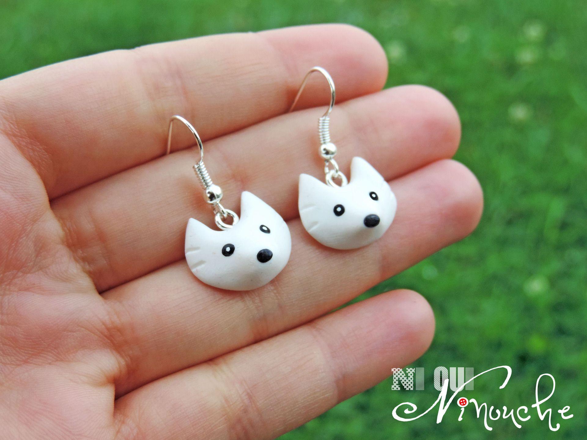 Boucles d 39 oreilles loups blanc fimo petite t te de - Tete de oui oui ...