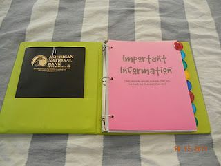 Teacher organization binder.