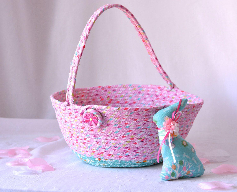 Pink Easter Basket, Flower Girl Basket, Handmade Easter Basket, Pink ...