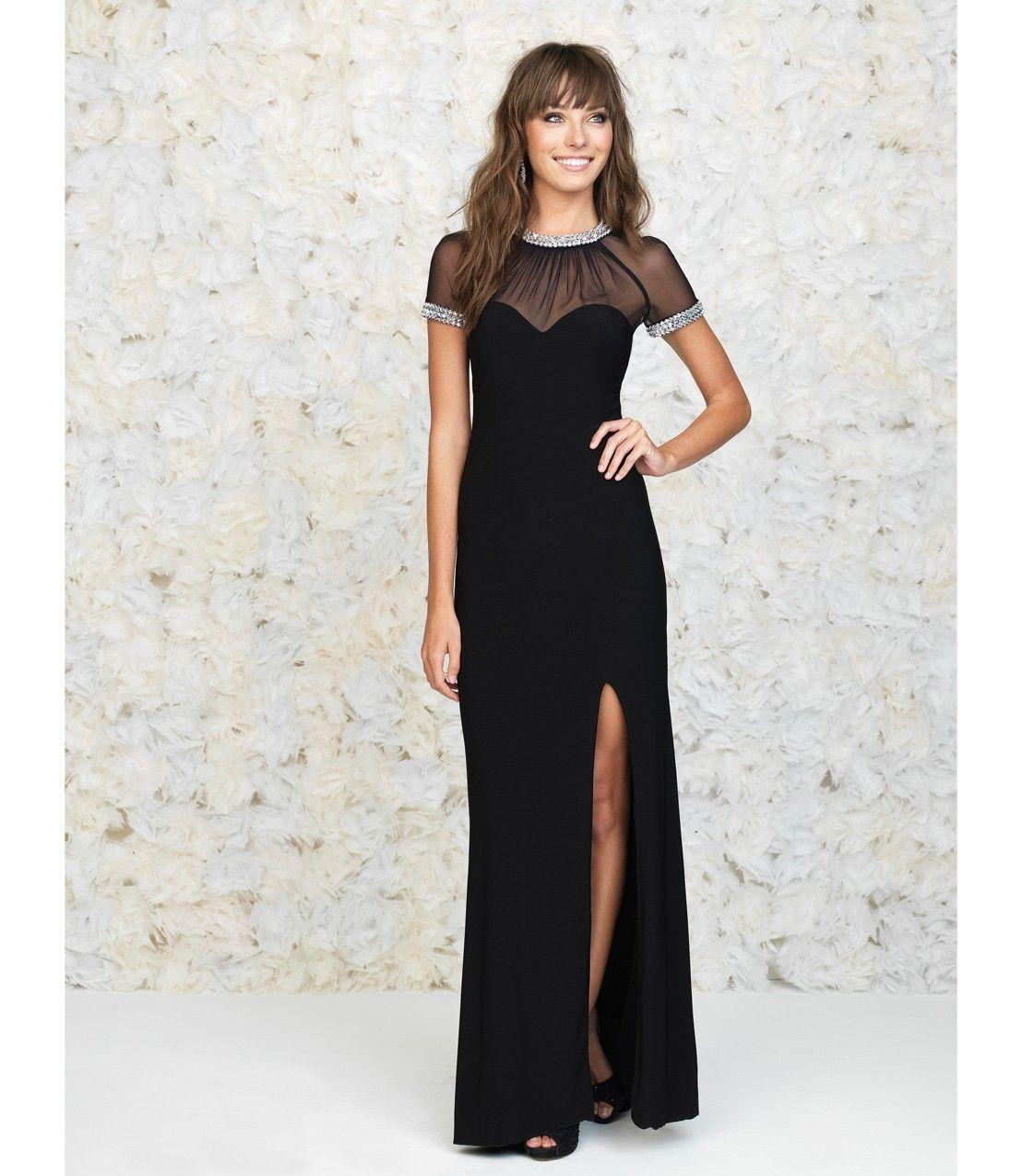 Black sheer cap sleeve prom dress uniqueprom prom pinterest