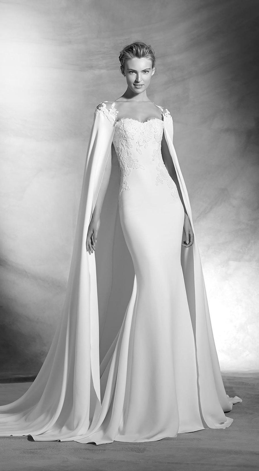 Wedding Dress Pronovias 2016 Atelier bridal gown with cape, wedding ideas, wedding inspiration, bride, haute couture, wedding dress with detachable cape