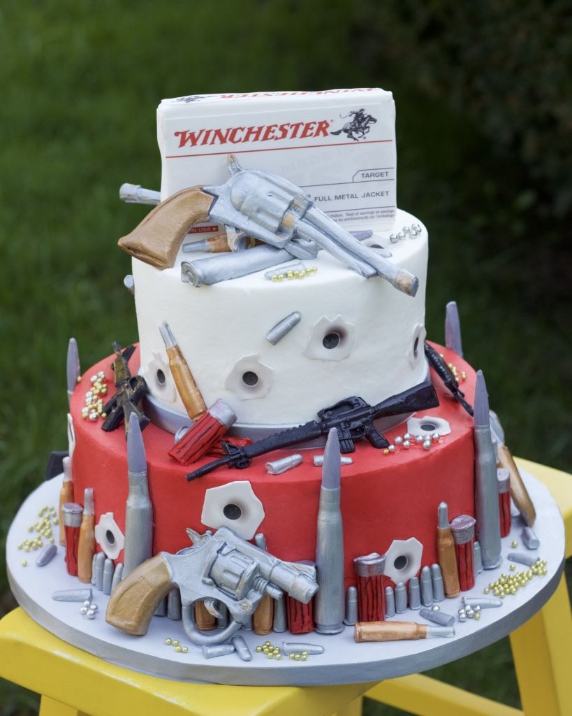 Guns And Bullets Birthday Cake