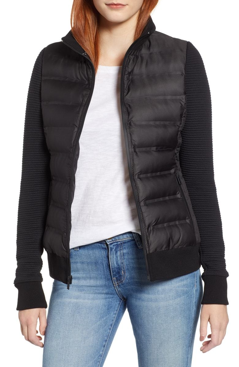 Marc New York Puffer Jacket With Knit Sleeves Nordstrom Knit Sleeve Puffer Jacket Women Puffer Jackets [ 1196 x 780 Pixel ]
