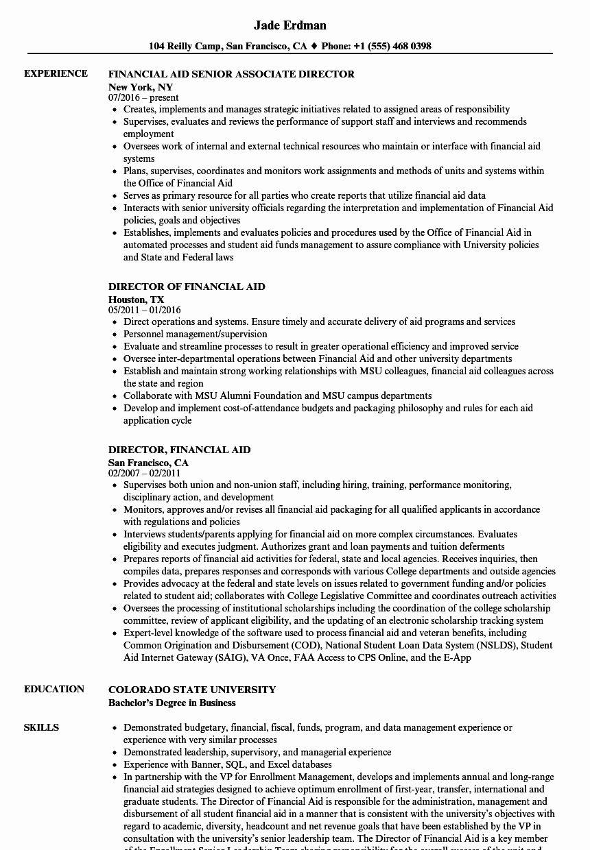 Financial Aid Advisor Resume Inspirational Financial Aid Director Resume Samples Financial Aid Resume Good Resume Examples