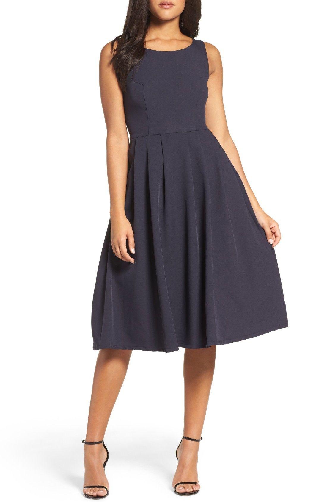Dark blue dresses fit flare dress feminine dress flare